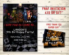 "Five Nights at Freddy's invitation, FNAF invitation, FNAF birthday invitation. Digital, bonus - 12 thank you cards 3x2"" each!"