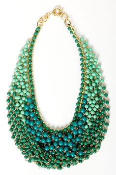 This necklace will be easy to wear with its complimentary shades of blue. You will be able to wear this with jeans and a shirt or sweater or with work attire.  It would also be beautiful  when needing a more formal wear.