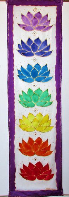 Chakra wall hanging with lotuses and Swarovski crystals,Crystal Lotus,chakra art, metaphysical art, yoga art, reiki art. healing art,