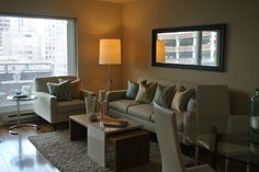 hip downtown Seattle condo. Staging by openhousestaging.net