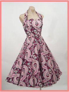 50's Novelty Print Halter Sundress w/Full Skirt
