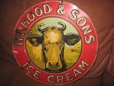 VINTAGE H.P. HOOD & SONS ICE CREAM FARM DAIRY COW SIGN $342.99