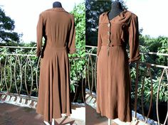 40s brown crepe dress 1940s 1930s 30s