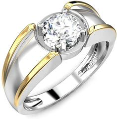0.70 ctw Round Solitaire Diamond Sterling Silver Two Tone Wedding Ring for Men.  #ring #jewelry #SterlingSilver