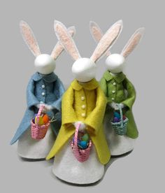 New in 2018! Who says the Easter Bunny cant be a lady bunny? Our Mrs. Rabbit clothespin ornament is all ready to fill in for her husband with her tiny basket of colored eggs. Hang her on your spring holiday tree, or stand her up as a peg doll on a shelf with other Easter decor. Weve