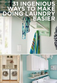 31 Ingenious Ways To Make Doing Laundry Easier- great ideas for when I have an actual laundry room. or maybe I'll just do all this in the basement and make it look way too cool for a basement laundry area. Home Design, Home Interior Design, Interior Decorating, Design Room, Modern Interior, Design Ideas, Basement Laundry Area, Laundry Rooms, Br House