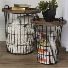 Industrial Wire And Wood Basket Side Table Wood Basket