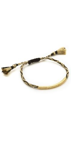 Tai Woven Gold Bar Charm Bracelet / I love the mix of high and low in this jewelry trend.