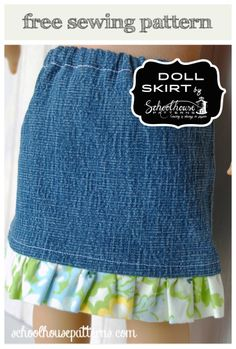 School House Patterns: Doll Skirt Upcycle (FREE PATTERN - Take a leg from a child sized pair of jeans or khakis & make a cute skirt for your American Girl Doll)