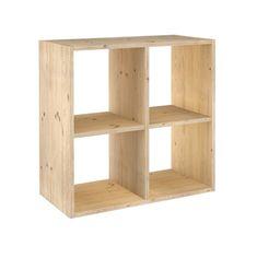 Estantería modular de 2 x 2 cubos de madera maciza de pino --- Étagère modulaire 2 x 2 cubes en pin massif. Ikea, Cubes, Decoration, Bookcase, Woodworking, Shelves, Home Decor, Products, Portugal