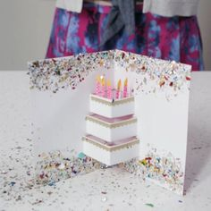 Show someone how much you care with a festive handmade birthday card. It takes no time at all to dress up a plain paper card with some serious sparkle. This DIY card will be ready in minutes—perfect for those last-minute birthday wishes! #homemadebirthdaycards #birthdaypartyideas #popupcard #diycardideas #bhg Birthday Cards For Mom, Homemade Birthday Cards, Birthday Diy, Birthday Wishes, Last Minute Birthday Gifts, Homemade Gifts For Mom, Homemade Cards, Diy Gift Box, Diy Gifts