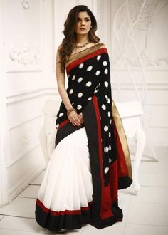 Combination of Ikat & white chanderi saree with zari border lovely Simple Sarees, Trendy Sarees, Stylish Sarees, Fancy Sarees, Indian Attire, Indian Wear, Indian Dresses, Indian Outfits, Indian Clothes