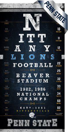 Penn State Nittany Lions Beaver Stadium Eye Chart Midnight Blue Perfect Valentines Birthday