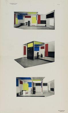 Pavillon de Berlin de Huszar et Rietveld, une autre possibilité de nier l'ossature de l'architecture est de faire du coin, de l'articulation des plans architecturaux eux-même (murs, sol, plafond) un agent visuel de continuité parfaite. Les plans colorés peints sur les murs ne s'interrompent par à la jonction des deux surfaces murales mais se poursuivent après avoir subi dans l'espace une torsion à 90°.