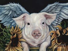 When Pigs Fly Painting by Lorraine Davis Martin - When Pigs Fly Fine Art Prints and Posters for Sale This Little Piggy, Little Pigs, Canvas Art, Canvas Prints, Art Prints, Framed Prints, Alas Tattoo, Pig Art, Mini Pigs