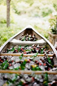 Wedding Food Put your drinks on display in an ice-filled canoe at your rustic summer wedding Wedding Reception, Our Wedding, Dream Wedding, Wedding Summer, Wedding Pics, Budget Wedding, Wedding Dresses, Summer Weddings, Wedding Images