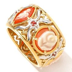 118-727 - Gems en Vogue II Hand Carved Multi Shell Cameo & Orange Sapphire Eternity Band Ring