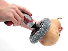 Cordless Gourd Scrubber! Now you can quickly and easily clean your gourds without straining your hands.