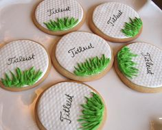 Titleist, a recognizable name in golf balls, is used on these decorated golf themed cookies. Perfect for a golf party buffet, or wrap in cello for party favor giveaways.