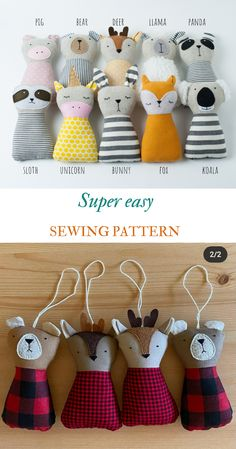 PDF animals sewing pattern kid craft diy stuffed toy tutorial animal rag doll beginner sewing project svg files svg sewing pattern easy PDF #animaltoys #sewingpatterns #diy #sewingdiy