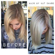 White blonde Balayage highlights