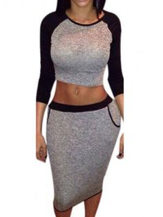 When you are going to do some sports,you shoulder prepare a set like this one,which with scoop and bare midriff design and bodycon design can also show your sexy figure,you can keep fashion and feel c Chiffon Dress, Dress Skirt, Lace Dress, Bodycon Dress, Day Dresses, Cute Dresses, Backless Top, Fabulous Dresses, Body Con Skirt