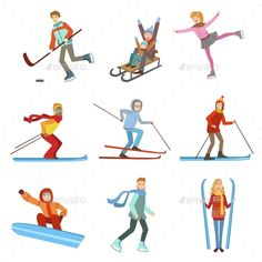 Buy People Doing Winter Sports Illustration Set by Top_Vectors on GraphicRiver. People Doing Winter Sports Illustrations Isolated On White Background. Olympic Ice Skating, Olympic Idea, Skiing, Snowboarding, Winter Mountain, Winter Sports, Drawing People, Cartoon Characters, Childhood Memories