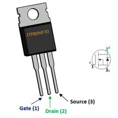 The is an N-channel Power MOSFET from ST Microelectronics. Electronic Circuit Design, Electronic Parts, Electronic Engineering, Electronics Mini Projects, Electronics Components, Electrical Circuit Diagram, Electric Power, Arduino, Electronic Circuit