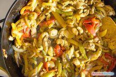 Cómo hacer Fajitas de pollo. Relleno para fajitas mexicanas, receta fácil de fajitas de pollo con verduras.