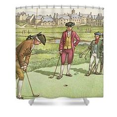 Golf Being Played In St Andrews In The Century Shower Curtain Golf Theme, St Andrews, 18th Century, Fine Art America, Curtains, Shower, Painting, Rain Shower Heads, Blinds