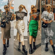 Rock Outfits, Edgy Outfits, Retro Outfits, Grunge Outfits, Fall Outfits, Fashion Outfits, Pastel Outfit, Satin Midi Skirt, Midi Skirts