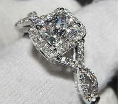1 carat Princess Cut Halo Sona Diamond Engagement Ring Twisted Band