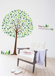 wall stickers - YYone Happy Round Tree 130cm Tall Wall Sticker Living Room Decoration -