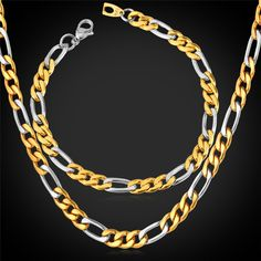Find More Jewelry Sets Information about Figaro Chain Bracelet Necklace Set New Hot Fashion Jewelry 8MM Gold Plated Stainless Steel Men Jewelry Sets GNH918,High Quality fashion necklace set,China necklace set Suppliers, Cheap bracelet necklace set from Magic Cube Jewelry (Quality Items) on Aliexpress.com