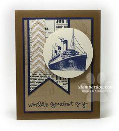 Traveler ship, chevron ribbon, Typeset DSP, Crumb Cake, Night of Navy, Soft Suede, Very Vanilla