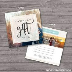Beautiful, Professional Photoshop and MS Word Templates by ShalexDesigns Gift Certificate Template, Certificate Design, Gift Certificates, Wedding Certificate, Photography Templates, Photography Gifts, Photography Business, Realtor Gifts, 5 Gifts