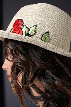 Stitched Straw Rose Patch Panama Hat