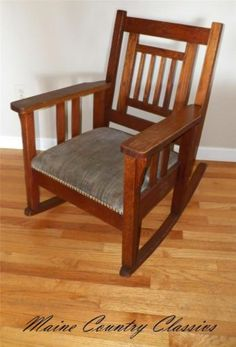 Antique Stickley Era Arts Crafts Mission Oak Rocker Chair Shipping Available   eBay