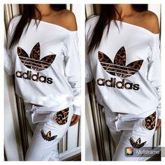 Article: CDF00122 #leopard #white #tracksuit #sweatsuit Stylish womens leopard print and lwhite sweatsuit