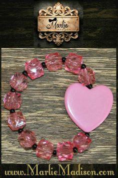 Heart Bead Bracelet - Pink w/ Black http://www.marliemadison.com/accessories/jewelry/heart-bead-bracelet