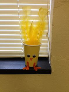 Chicken: Cup, pipe cleaner, feathers construction paper, eyes