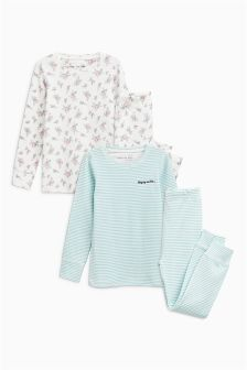 Ditsy/Stripe Snuggle Pyjamas Two Pack Boy Blue, Sport Casual, Sport Fashion, Pyjamas, Nightwear, Must Haves, Joggers, Bell Sleeve Top, Ruffle Blouse