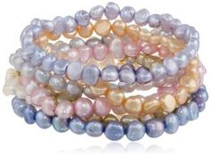 multi colored fresh water imperfect pearl bracelet