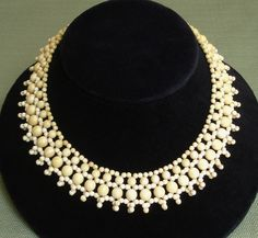AMAZING & RARE Victorian Woven Geniune Ivory Beaded Necklace -- GORGEOUS Bib Collar !!