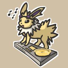DJ-lution: Eevee by PeekingBoo on DeviantArt Pokemon Gif, Pokemon Comics, Pokemon Memes, Pokemon Funny, Pokemon Fan Art, Pokemon Stuff, Pokemon Eeveelutions, Eevee Evolutions, Cute Pokemon Wallpaper