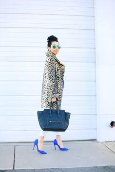 cobalt blue shoes & sweater wtih white jeans and leopard