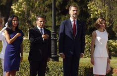 Los Reyes y el Presidente Humala y su esposa, durante la interpretación del Himno de Perú Palacio Real de El Pardo. Madrid, 07.07.2015