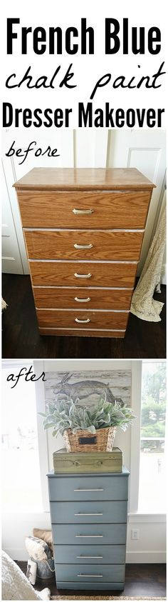 See how to achieve this dresser makeover with chalk paint, sand paper, & dark wax. A must pin for furniture makeover ideas. Chalk paint color: Masion Blanche French B Refurbished Furniture, Paint Furniture, Furniture Projects, Furniture Making, Furniture Makeover, Home Furniture, Furniture Refinishing, Bedroom Furniture, Diy Projects