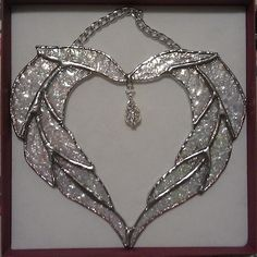 Sparkle glass wedding heart - Folksy