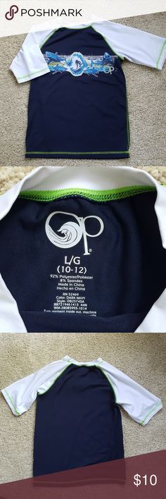 OP Rashguard Size L 10-12 OP rashguard in excellent condition. Size Large 10-12. From a smoke-free home. OP Swim Rashguards